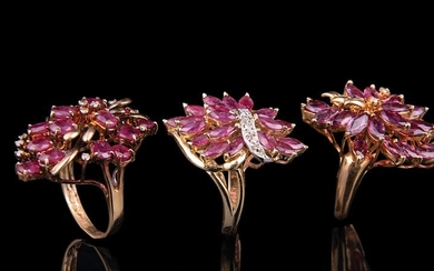 14 kt. Yellow Gold, Ruby and Diamond Rings