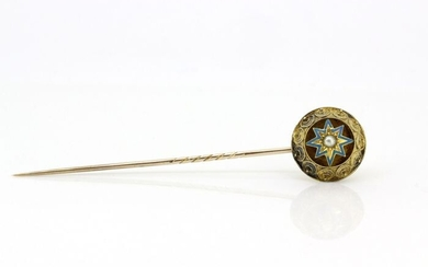15 kt. Yellow gold - Antique Pin BroochPearl