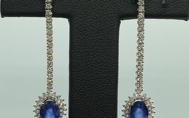 18 kt. White gold - Earrings - 2.72 ct Sapphire - Diamonds