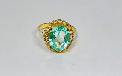 18 kt. Yellow gold - Vintage Cocktail Ring - 6.50 ct Aquamarine