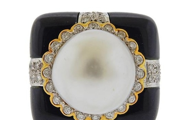 18K Gold Diamond South Sea Pearl Onyx Cocktail Ring
