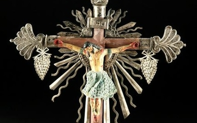 19th C. Philippino Painted Wood Crucifix w/ Silver