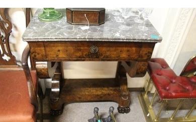 19th Century French Burr Walnut Consul Table With Marble Top...