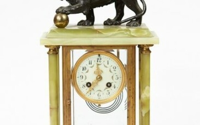 19th century French onyx gilt bronze clock