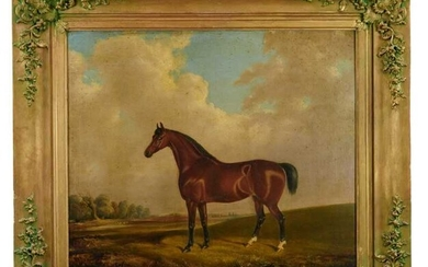 19th century school oil on canvas, Horse in a landscape