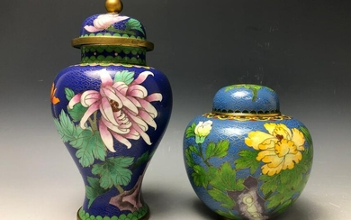 2 Blue Ground Chinese Cloisonne