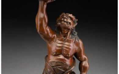 28313: A Chinese Partial Gilt Bronze Guardian, 20th cen