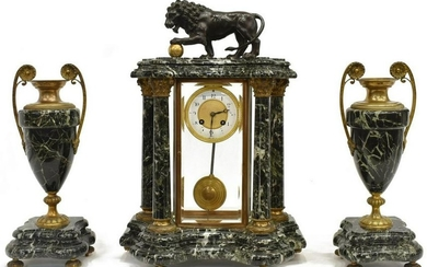 (3) FINE FRENCH MARBLE MANTEL CLOCK & GARNITURES