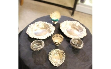 3 Silver Trinket Dishes, 2 Salt Cellars and 2 Posy Bowls
