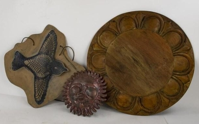 3 Wood & Pottery Wall Sculptures or Plaques
