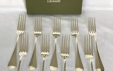Christofle modèle Fidelio - Forks for dinner (9) - Silver plated