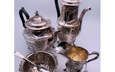 4 piece Dublin silver service by Alright and Marshall 1977. ...