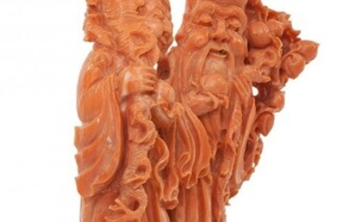 61013: A Chinese Carved Coral Double Figural Group on W