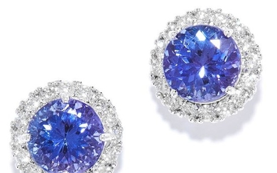 TANZANITE AND DIAMOND CLUSTER EARRINGS in 18ct white