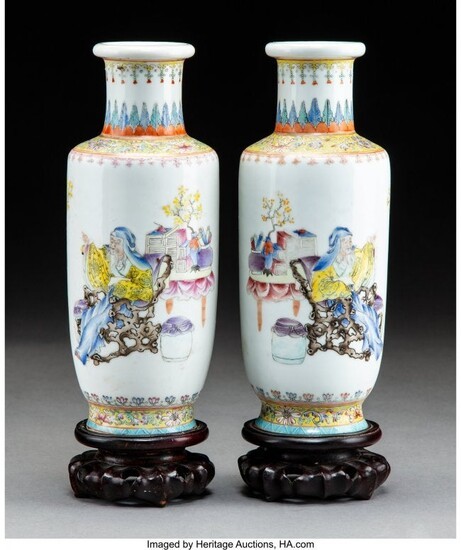 78213: A Pair of Chinese Enameled Porcelain Vases with
