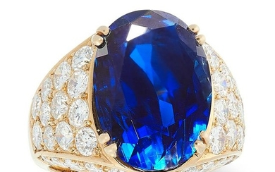 A 13.38 CARAT BURMA NO HEAT SAPPHIRE AND DIAMOND RING