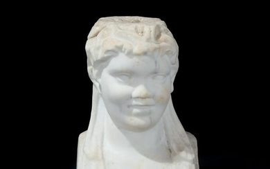 A 17th century white marble head of a smiling boy