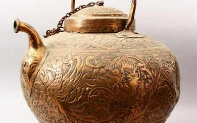 A 19TH CENTURY EMBOSSED BRASS JUG & COVER, with