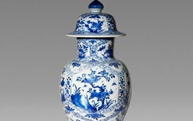 A CHINESE BLUE AND WHITE BALUSTER VASE AND COVER KANGXI...