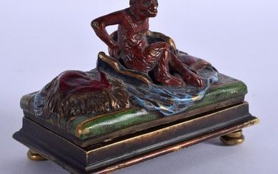 A COLD PAINTED BRONZE FIGURE OF A MONKEY modelled upon