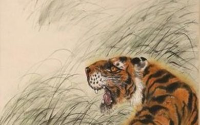 A COLOR AND INK 'TIGER' HANGING SCROLL