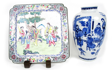 A Canton enamel square tray and a blue and white vase