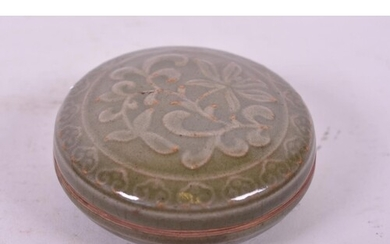 A Chinese Song style olive glazed pottery box and cover with...
