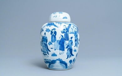 A Chinese blue and white covered jar with figures in a landscape, 19th C.
