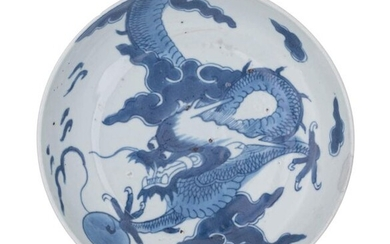A Chinese blue and white dragon dish, probably for the...