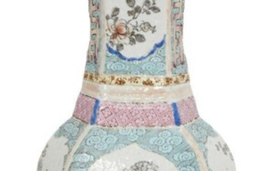 A Chinese porcelain hexagonal vase, Qianlong period, painted in famille...