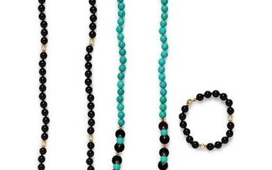 A Collection of Yellow Gold and Onyx Bead Jewelry,