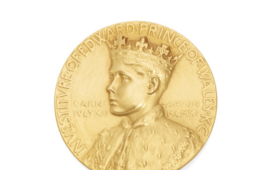 A GEORGE V GOLD EDWARD ALBERT, PRINCE OF WALES INVESTITURE MEDALLION, THE ROYAL MINT, 1911
