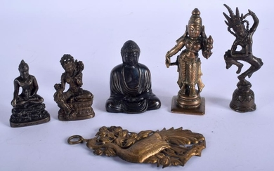 A GROUP OF FIVE BUDDHA, together with a pheonix bird