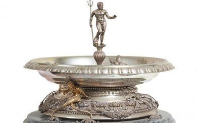 A German white metal, parcel gilt and verde antico mounted table fountain