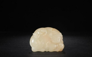 A HETIAN JADE PENDANT WITH STORY CARVED