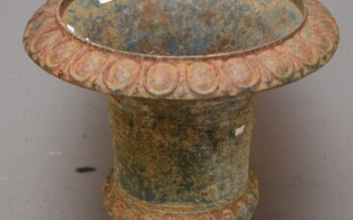 A LARGE 19TH CENTURY FRENCH ORIGINAL PAINTED GREEN CAST IRON GARDEN POT URN (60H x 49D CM) (PLEASE NOTE THIS HEAVY ITEM MUST BE REMO...