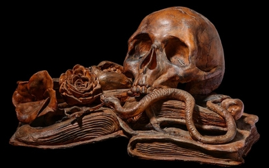 A LATE 19TH CENTURY NORTH EUROPEAN TERRACOTTA MEMENTO MORI