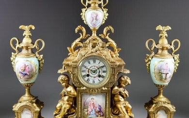 A Late 19th Century French Gilt Metal and Porcelain...