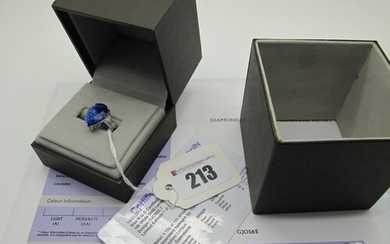 A Modern 18ct White Gold Large Tanzanite and Diamond Set Dre...