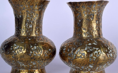 A PAIR OF EARLY 20TH CENTURY INDIAN BRASS VASE
