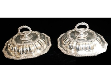 A PAIR OF EARLY 20TH CENTURY SILVER PLATED OCTAGONAL ENTRÉE ...