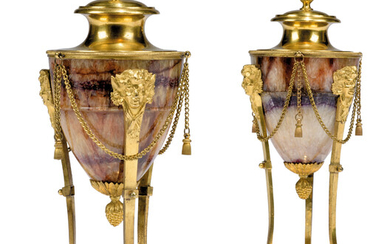 A PAIR OF LOUIS XVI ORMOLU-MOUNTED BLUE JOHN CASSOLETTES