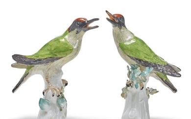 A PAIR OF MEISSEN FIGURES OF GREEN WOODPECKERS, CIRCA 1745