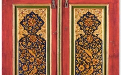 A PAIR OF QAJAR LACQUER PAINTED DOORS, PERSIA, 18TH/19TH CENTURY