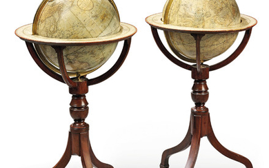 A PAIR OF REGENCY TERRESTRIAL AND CELESTIAL GLOBES, THE GLOBES BY CARY, LONDON, EARLY 19TH CENTURY, THE STANDS LATER