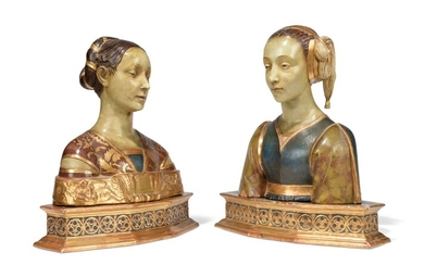 A PAIR OF TERRACOTTA BUSTS OF IPPOLITA MARIA SFORZA AND ANOTHER LADY, ONE BUST AFTER FRANCESCO LAURANA (1425-1502) AND ANOTHER IN THE MANNER OF LAURANA, BY MANIFATTURA DI SIGNA, LAST QUARTER 19TH CENTURY