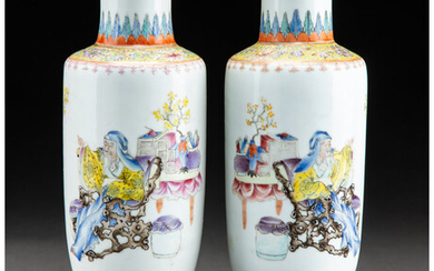 A Pair of Chinese Enameled Porcelain Vases (Republic Period)