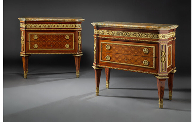 A Pair of Fine LeClaire Neoclassical Gilt Bronze Mounted Mahogany, Tulipwood, and Fruitwood Parquetry Commodes (circa 1770)