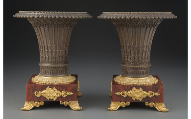 A Pair of French Restoration Partial Gilt Bronze Urns on Rouge Griotte Marble Bases (circa 1835)
