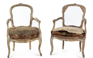 A Pair of Louis XV Painted Fauteuil Frames